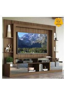 """Rack C/ Painel Tv 65"""" Portas C/ Espelho Oslo Multimóveis Madeirado/Amarelo"""