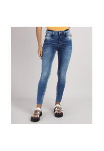 Calça Jeans Feminina Sawary Super Skiny Cintura Alta Estonada Azul Médio