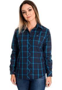 Camisa Pimenta Rosada Giullia - Feminino-Azul Escuro