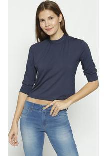 Blusa Lisa Com Franzidos- Azul Marinho- Colccicolcci