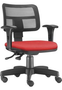 Cadeira Giratória Executiva Lyam Decor Zip Suede Vermelho