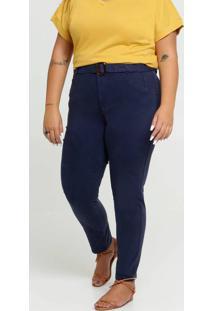 Calça Feminina Sarja Skinny Cinto Plus Size