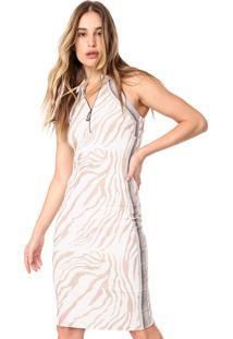 Vestido Acostamento Curto Zebra Off-White/Bege