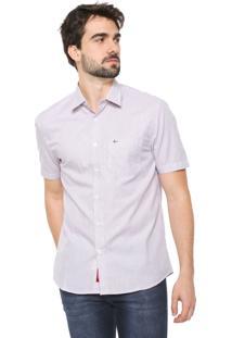 Camisa Aramis Reta Listrada Branca/Vinho