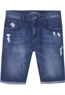 Bermuda John John Clássica Tapes Jeans Azul Masculina (Jeans Medio, 38)