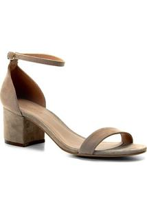 Sandália Couro Shoestock Salto Bloco Suede Feminina - Feminino-Cinza