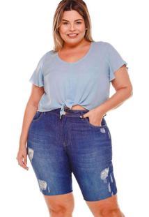 Bermuda Ciclista Almaria Plus Size Fact Jeans Azul