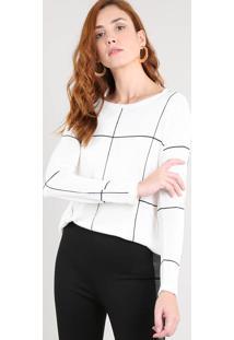 Suéter Feminino Estampado Quadriculado Em Tricô Off White