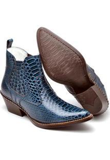 Bota Couro Country Top Franca Shoes Masculino - Masculino-Azul