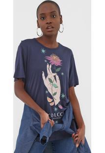 Camiseta Colcci Estampada Azul-Marinho - Azul Marinho - Feminino - Viscose - Dafiti