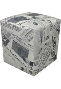 Puff D'Rossi Dado Quadrado Estampado Jornal Linho D-19
