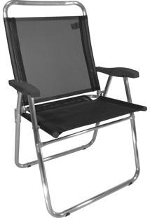 Cadeira De Praia King Zaka Em Alumínio Até 140 Kg Preta