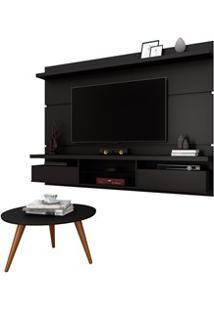 Painel Para Tv Lívia 2.2 E Mesa De Centro Solaris H01 Preto Fosco - Mp