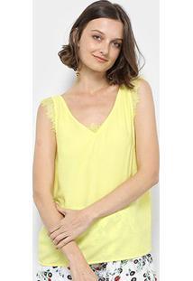 Regata Lily Fashion Renda Feminina - Feminino-Amarelo