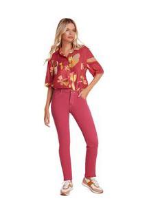 Calça Zinco Skinny Regular Cós Intermediário Tinturada Rosa