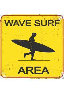Placa Decorativa Wavesurf Preta E Amarela