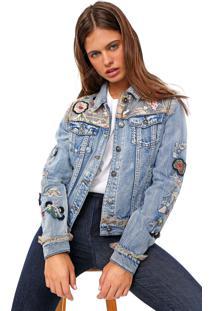 Jaqueta Jeans Desigual Flowers & Pearls Azul