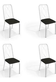 Conjunto Com 4 Cadeiras De Cozinha Viena Cromado E Preto