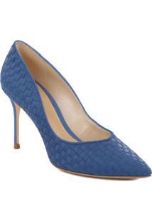 Scarpin Em Couro Texturizado- Azul Claro- Salto: 8,4Schutz