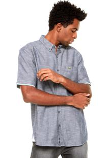 Camisa Manga Longa Lacoste Slim Fit Listrada Cinza/Vermelho/Branca