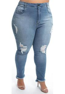 Calça Plus Size Jeans Claro Destroyed