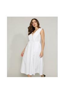 Vestido Feminino Mindset Midi Com Bolsos E Gola Bordada Sem Manga Branco