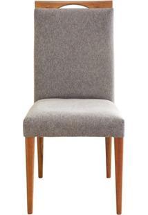 Cadeira Estofada Soft Madeira Maciça 6 Peças Amendoa-Cinza