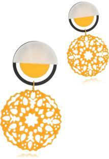 Brinco Le Diamond Mandala Baquelite Amarelo