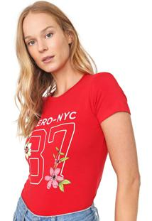 Camiseta Aeropostale Estampada Vermelha