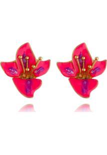 Brinco Flor Pink Blue Esmaltada A Mão Banhado A Ouro 18K - Kanui