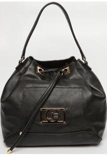 Bolsa Saco Em Couro - Preta- 31X45X16Cmjorge Bischoff