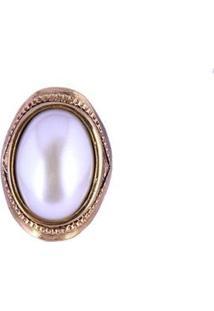 Anel Armazem Rr Bijoux Perola Oval - Feminino-Dourado