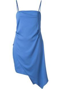 Michelle Mason Mini Vestido Com Drapeado Assimétrico - Azul