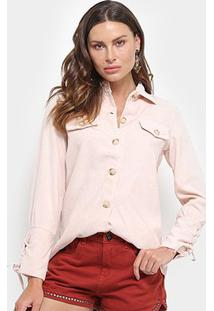 Camisa Manga Longa Adooro Veludo Cotelê Botões Amarração Feminina - Feminino-Rosa Claro