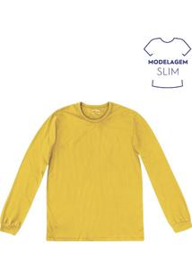 Camiseta Básica Masculina Slim Com Manga Longa