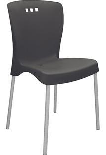 Cadeira Mona Pernas Anodizadas Preta - Tramontina
