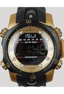 c04f2ad007e CEA. Relógio Preto Dourado Masculino Speedo Silicone Digital - Único  11005g0evnp3