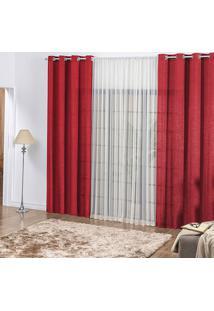 Cortina Casa Dona Vermelho Com Detalhe Em Voil 250X300Cm