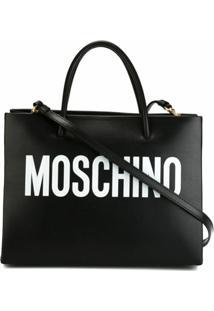 Moschino Bolsa Tote Com Logo - Preto