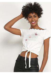 Blusa Lily Fashion Com Aplicação Feminina - Feminino-Branco