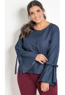 f3326da92aa5a9 Posthaus Camisa Jeans Decote Redondo Plus Size Com Manga Longa Feminina  Azul Flare