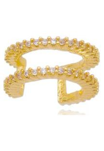 Brinco Piercing Drusi Semi Joias Aro Duplo Cravejados Com Zircônias Dourado