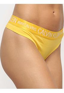 Calcinha Calvin Klein Fio Dental Reveillon Cotton - Feminino-Amarelo