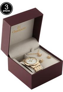 Kit 3 Pçs Relógio Champion Cn26780B Dourado