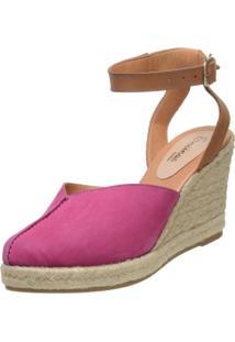 Sandália Encinas Leather Anabela Corda Pink