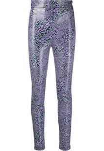 Versace Calça Skinny Com Estampa De Leopardo - Roxo