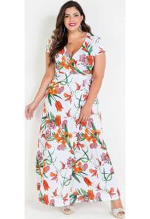 Vestido Transpassado Floral Branco Plus Size