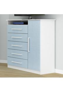 Cômoda Infantil 5 Gavetas E 1 Porta Branco/Azul 1D150 - Rodial