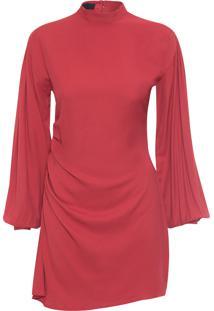Vestido Curto Drapeado Irregular - Vermelho