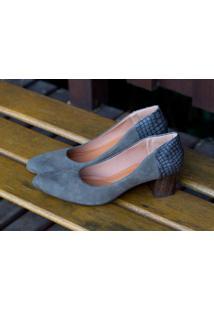 Sapato Cap Toe Dm Extra Couro Velour Cinza Dme176024 Numeração Especial 41, 42 E 43
